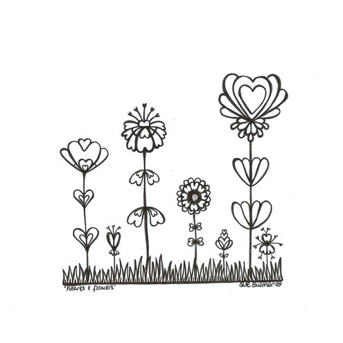 heart coloring pages - Coloring Pages Flowers Hearts