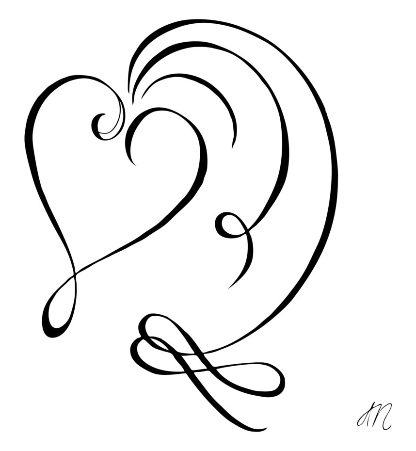 Line Art Of Heart : Hearts line drawings clipart best