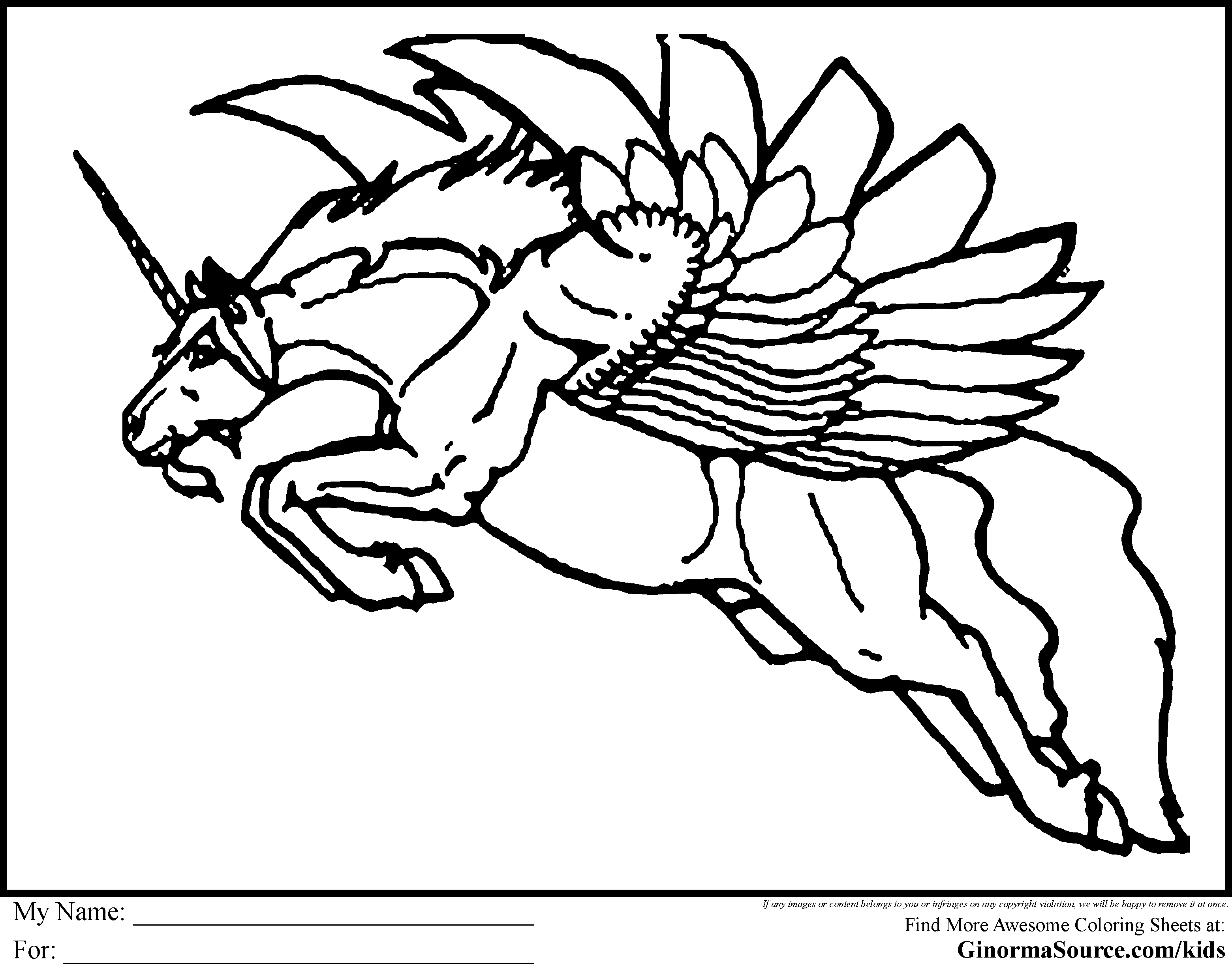 flying unicorn coloring pages ginormasource kids