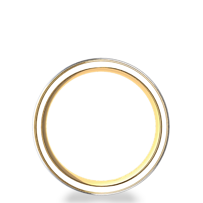 Vintage Scroll Design Men's Wedding Ring in 14k Two-Tone Yellow Gold