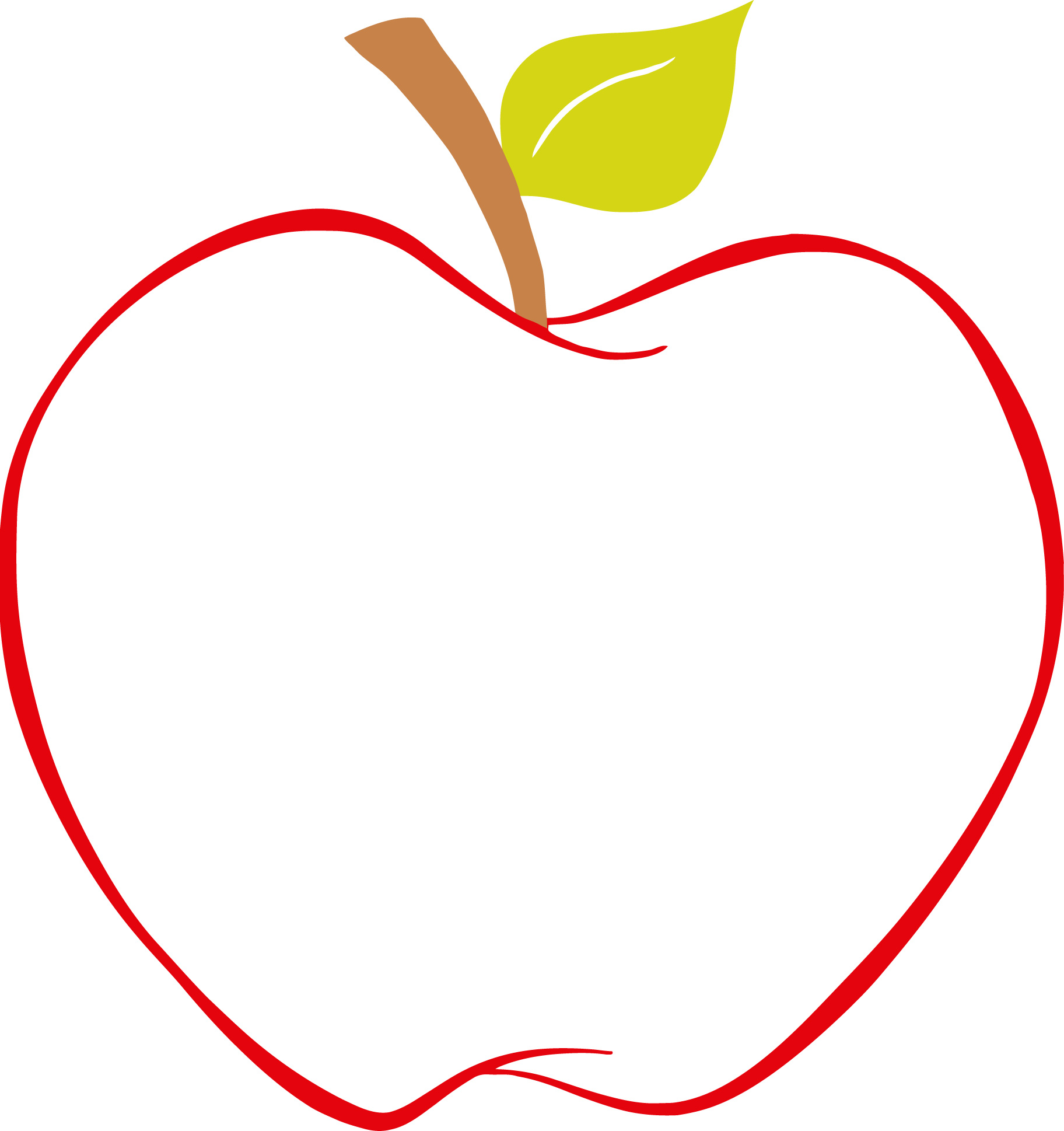 Red Apple Outline - ClipArt Best