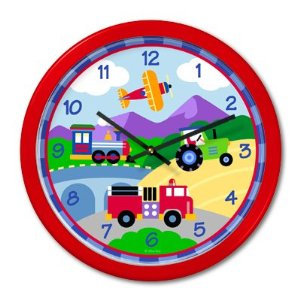 Olive Kids Trains Planes and Trucks Red Clock ...