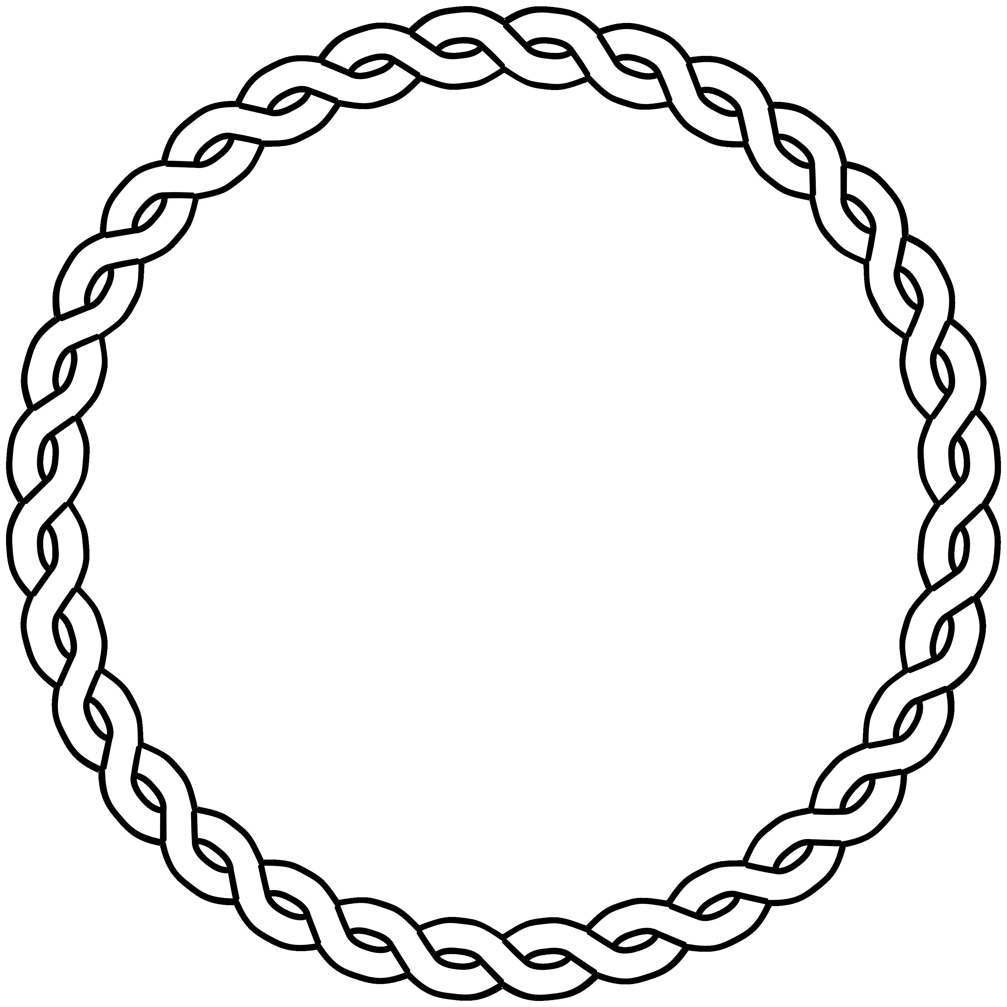 rope border circle black white line art coloring ...