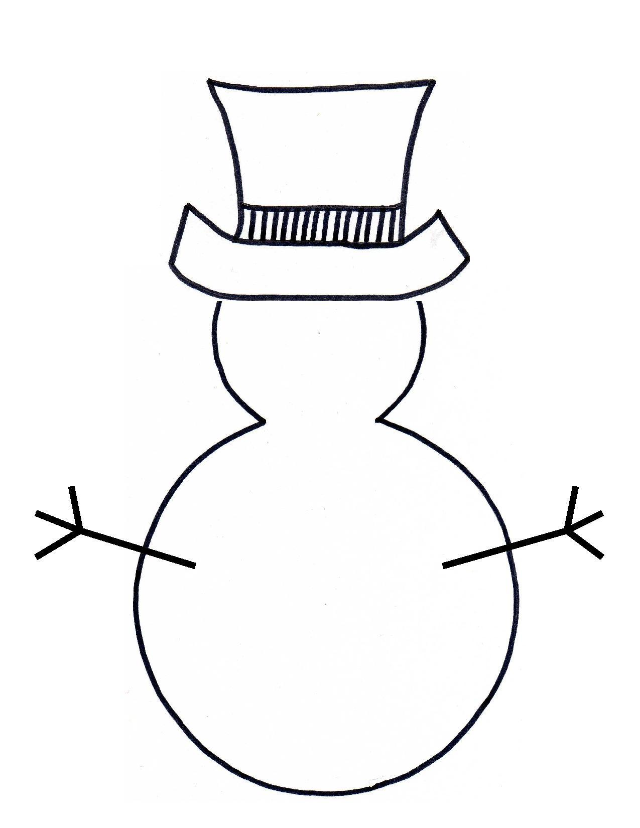 Snowman outline clipart best for Snowman templates free