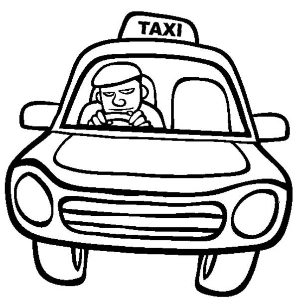 Coloring driving clipart best for Taxi coloring page