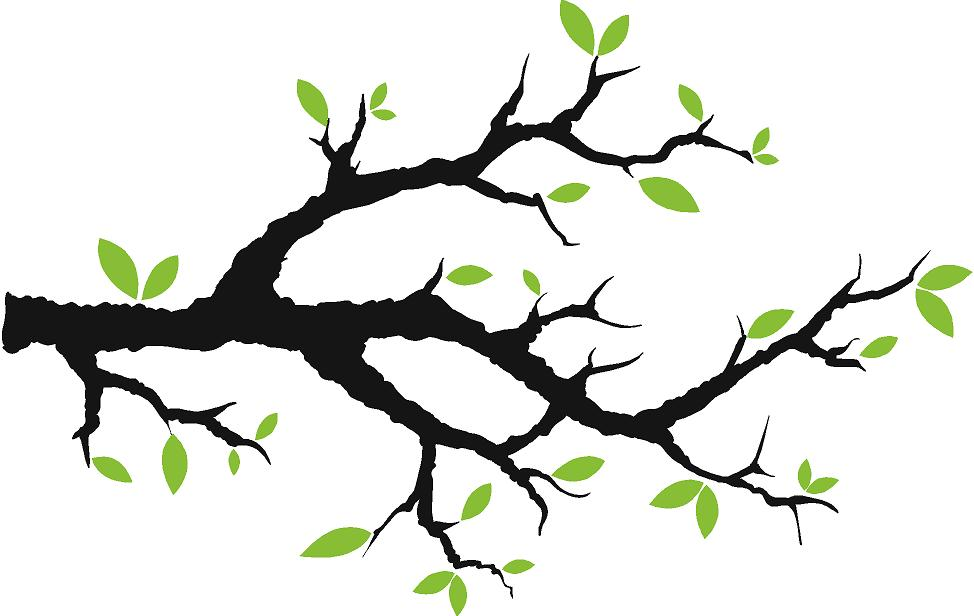 Tree Branch With Leaves Vinyl Wall Decals - Trees & Branches Decals