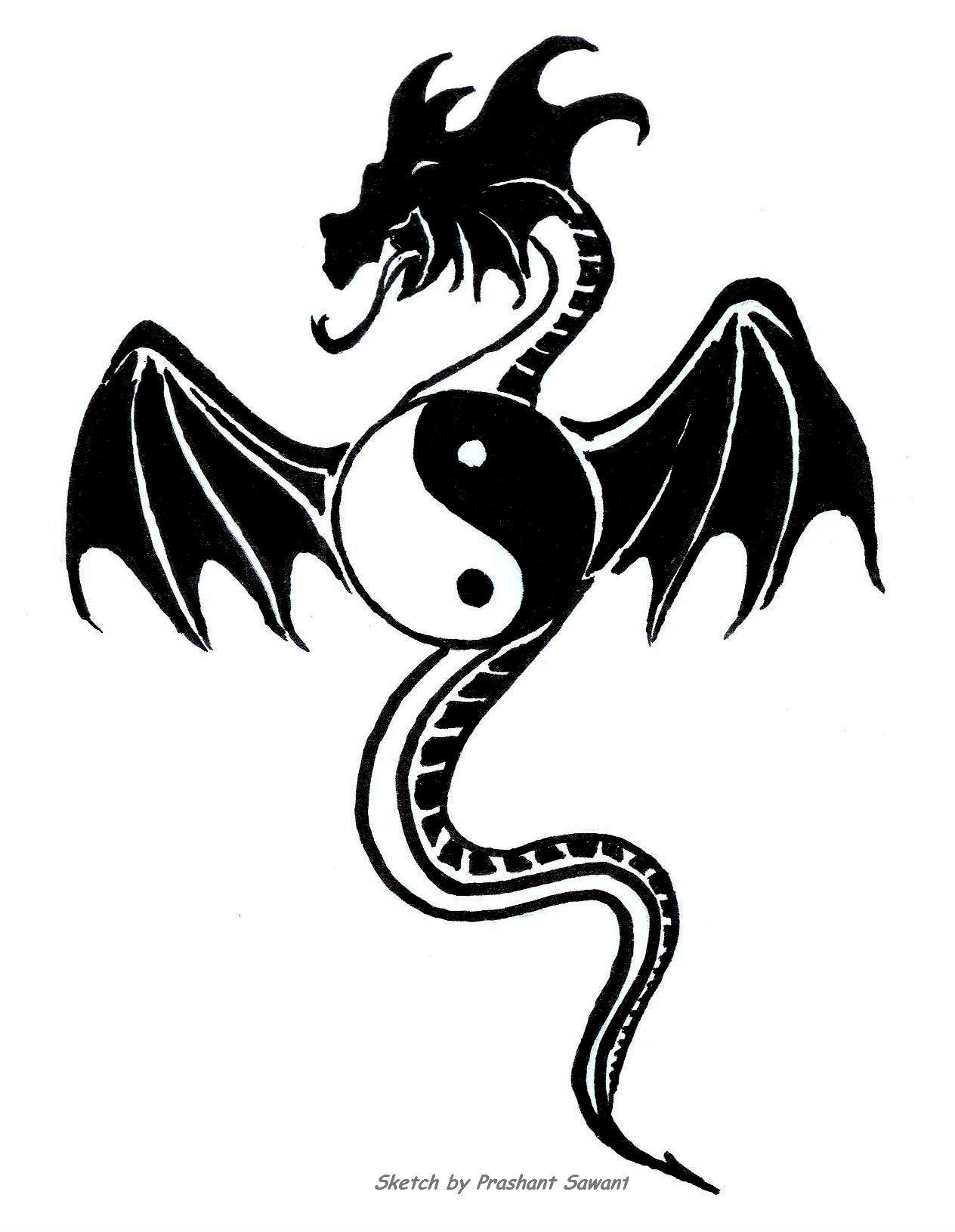 С знаком тату янь инь дракона эскизы