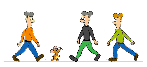 Animated people walking