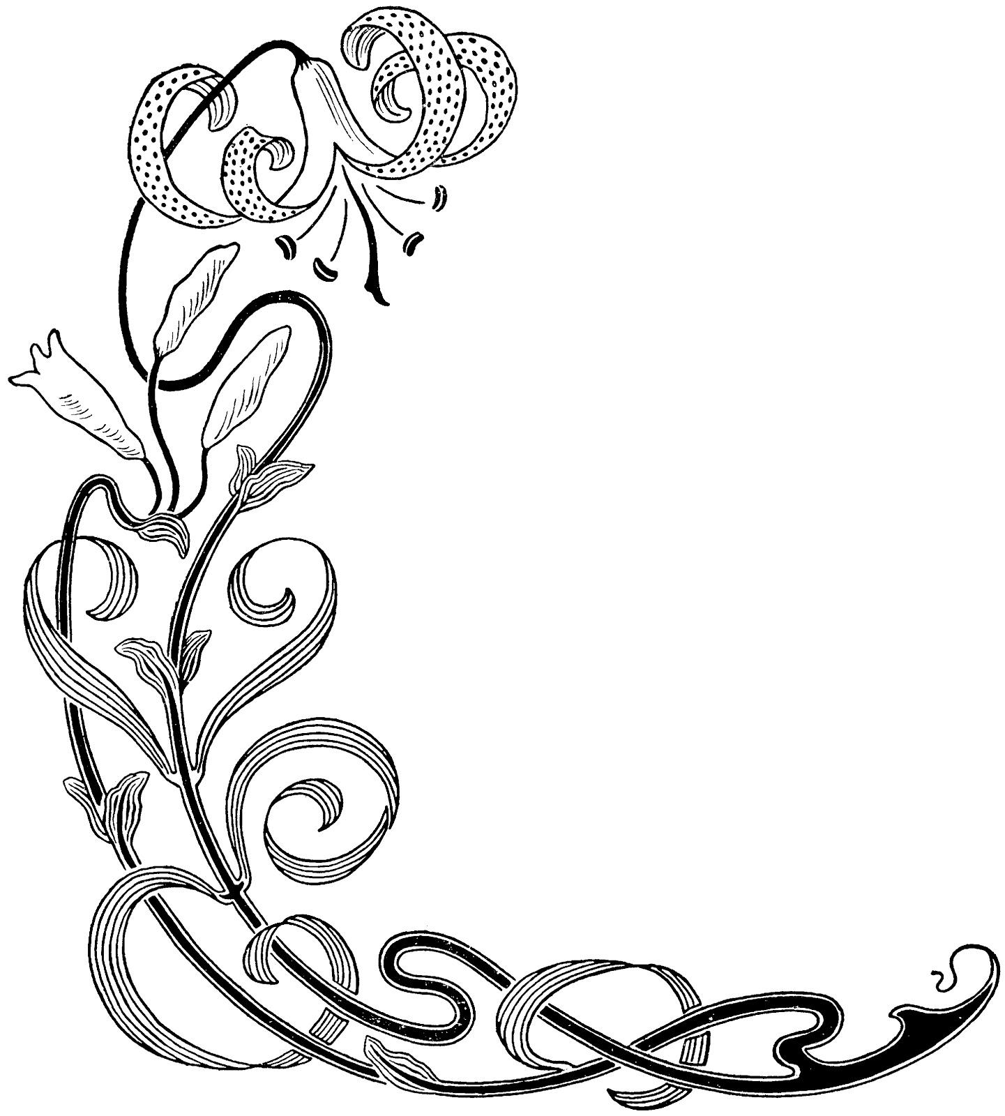 Decorative Line Clip Art Similiar Fancy Lines Clip Art Floral Keywords