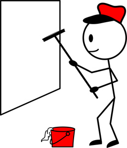 Janitor clipart image stick figure janitor washing a window with