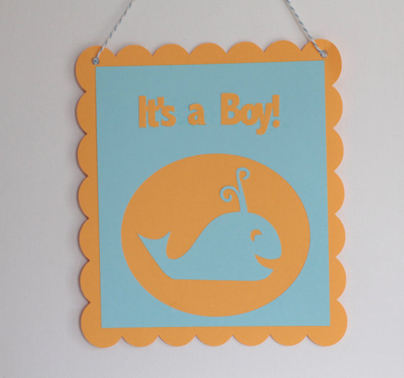 Blue and Orange It's a Boy Door Sign by Pink Poppy Cupcakes ...