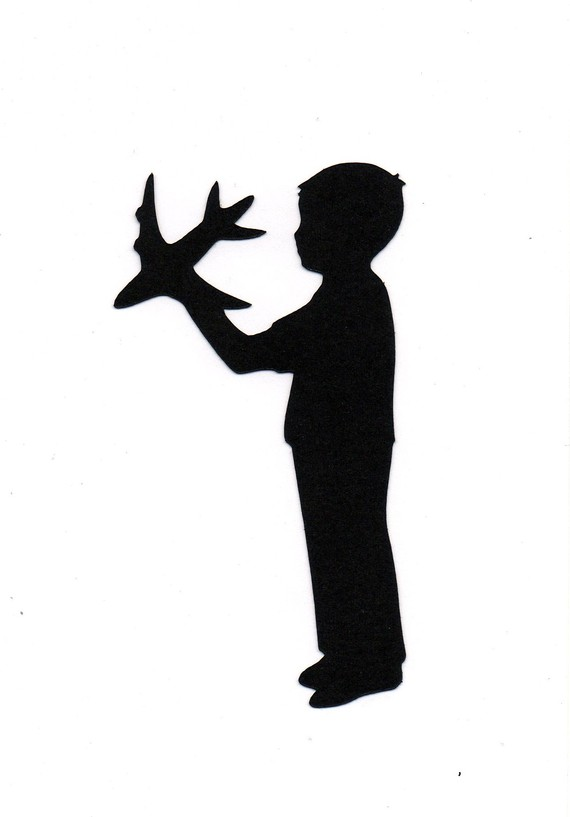 Boy with airplane Child Silhouette die cut by simplymadescrapbooks