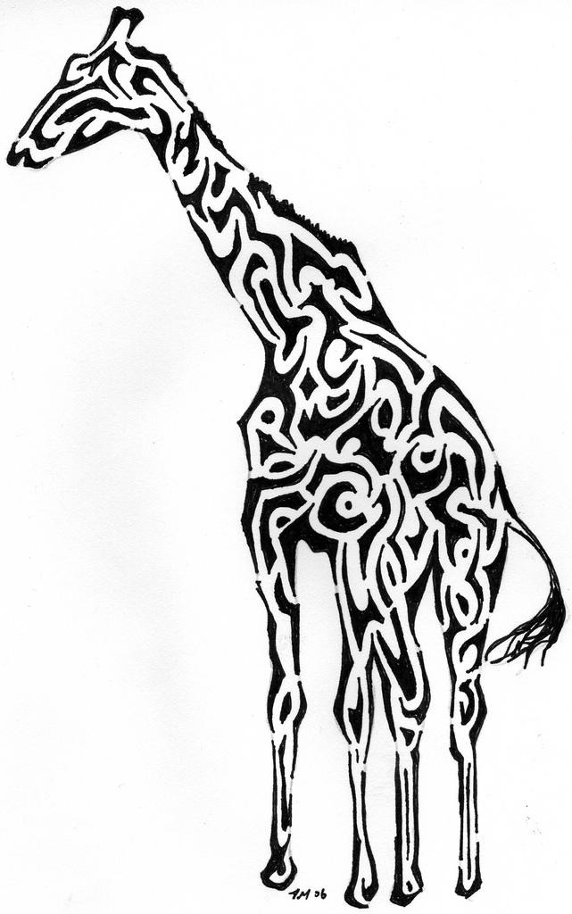 giraffe tribal drawing clipart best
