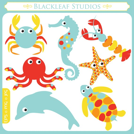 Baby Sea Animals starfish crab sea horse by blackleafdesign - ClipArt ...