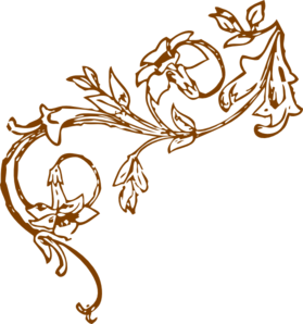 Brown Floral Vine Corner clip art - vector clip art online ...