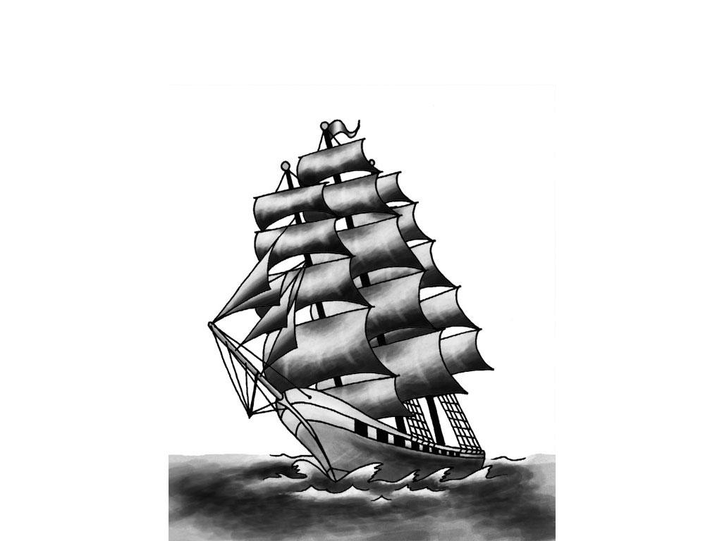Pirate ship outline tattoo