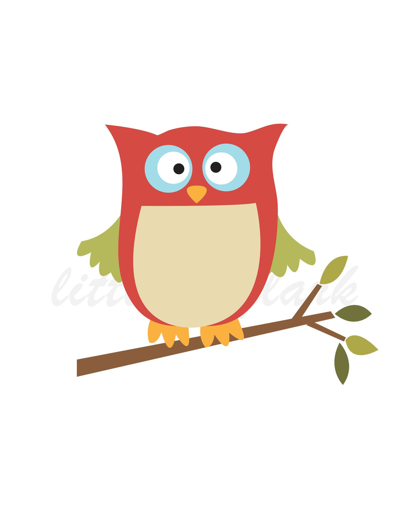 Two Owls On Branch Clip Art Two Owls On Bran...