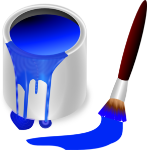 Blue Paint Brush And Can Clip Art - vector clip art ...