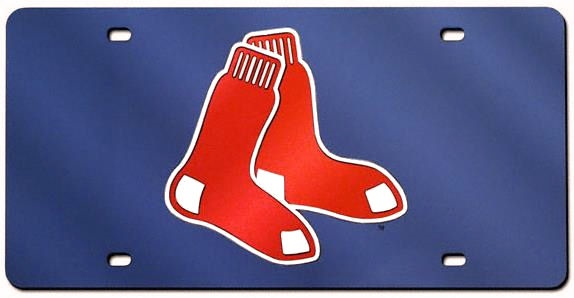"Boston Red Sox ""Socks"" Logo Navy Mirror Laser License"