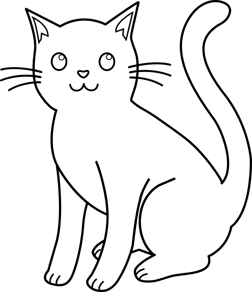 Cat Black White Coloring Page