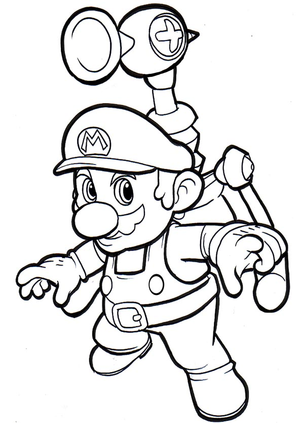 Mario Coloring pages - Black and white super Mario drawings for ...