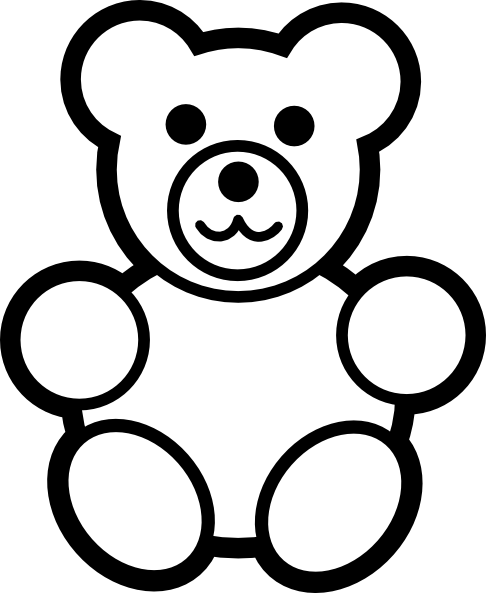 Circle Teddy Bear Black And White Clip Art - vector ...