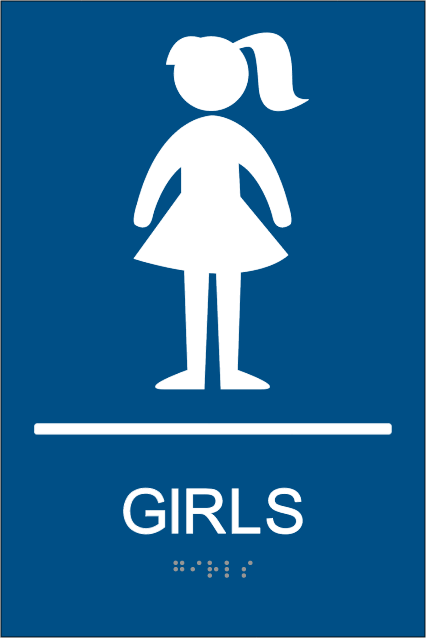Ada Girls Restroom Signs With Braille Girls Braille