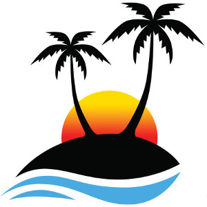 Palm tree sunset clipart