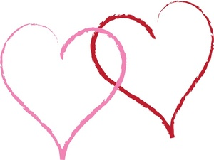 Love Clipart Image - A pink heart and red heart intertwined - two ...