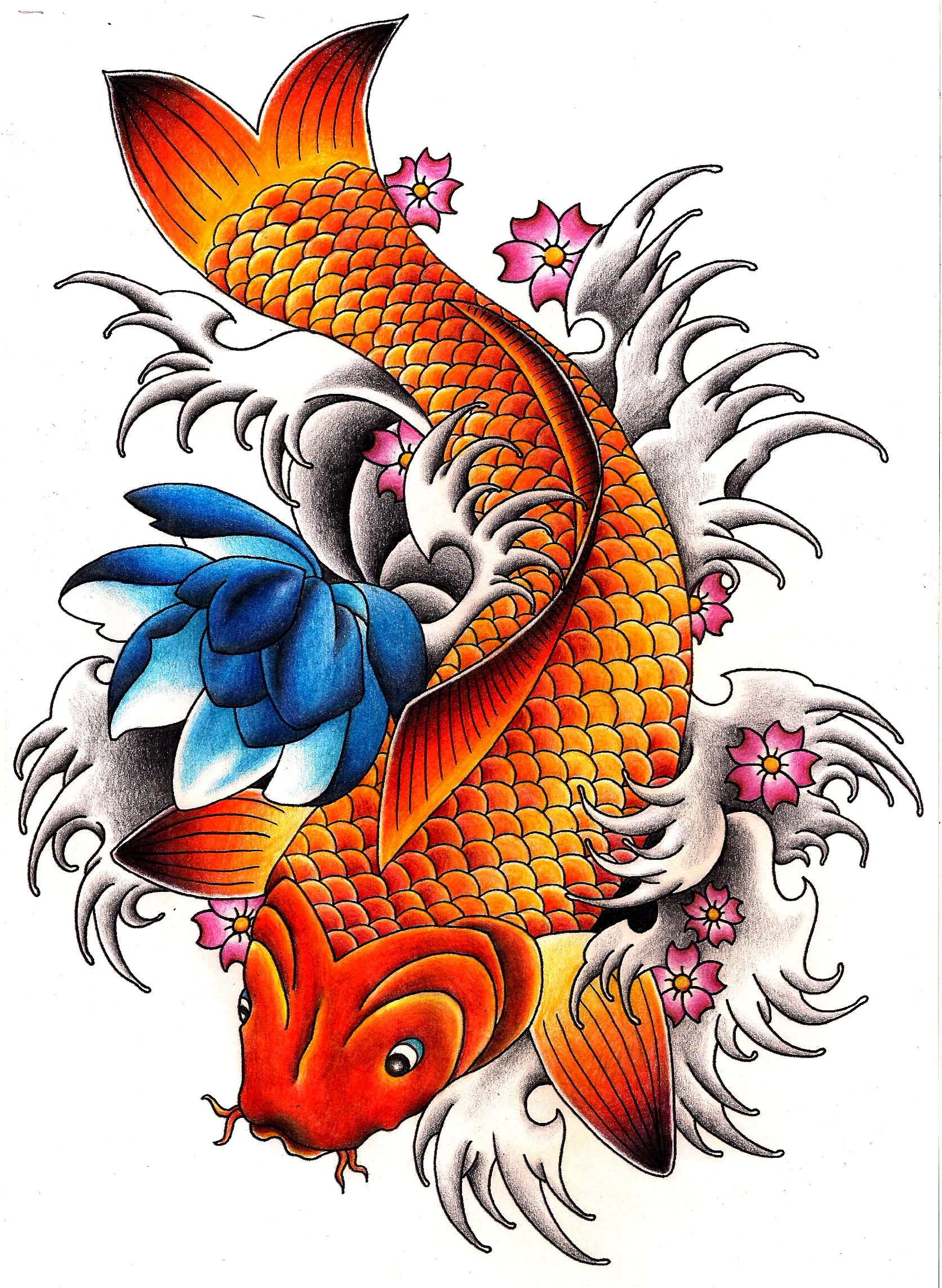 Catfish tattoo sketches clipart best for Koi carp pole