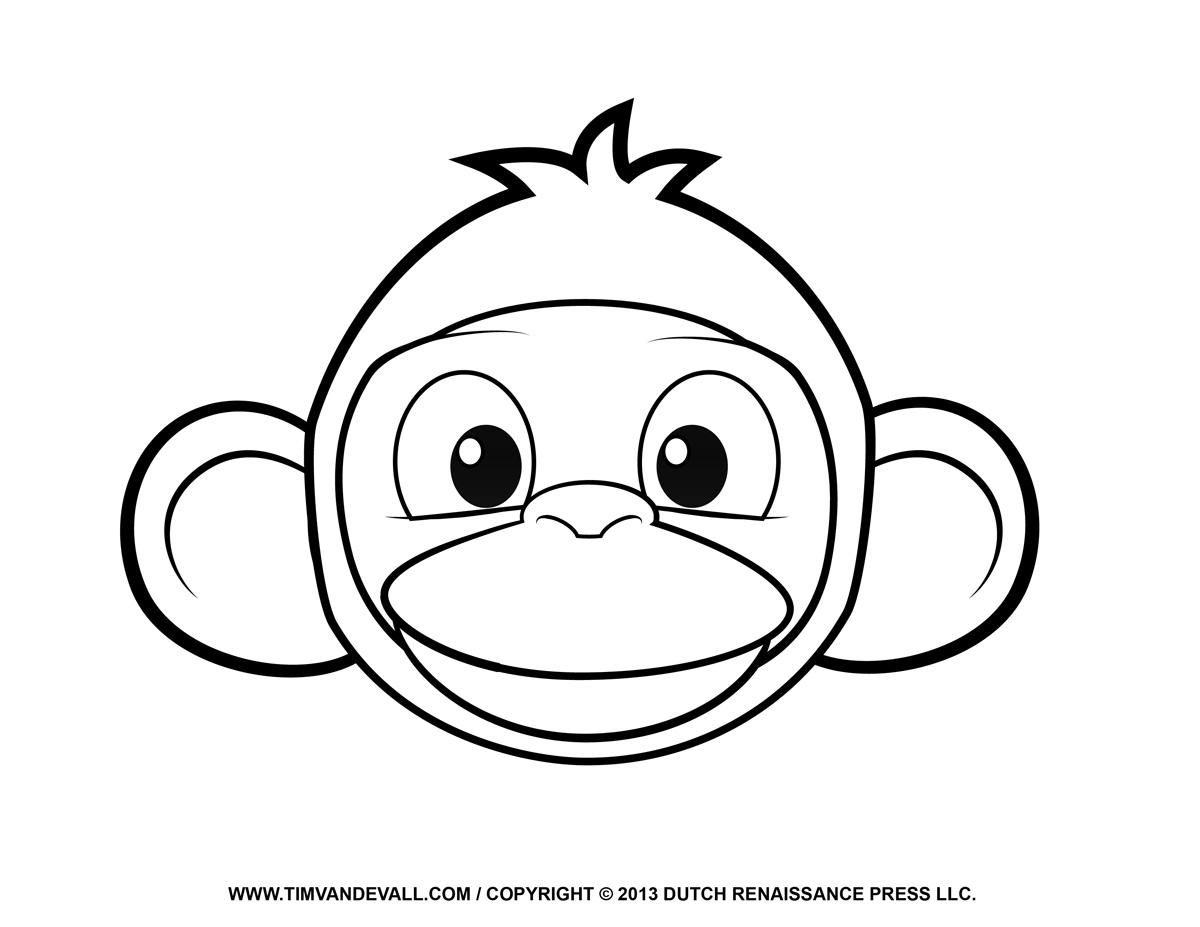 Line Drawing Of Monkey Face : Monkey line art clipart best