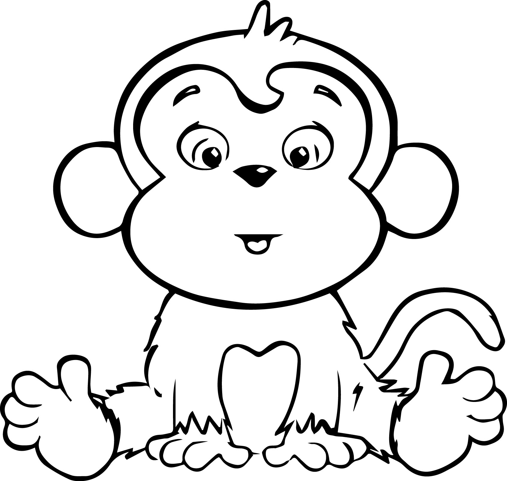 monkey coloring page - colouring monkey clipart best
