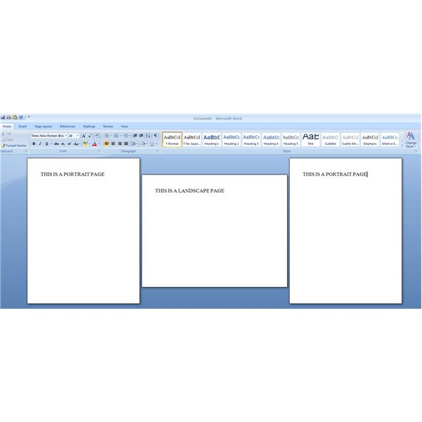 how to create landscape page in word