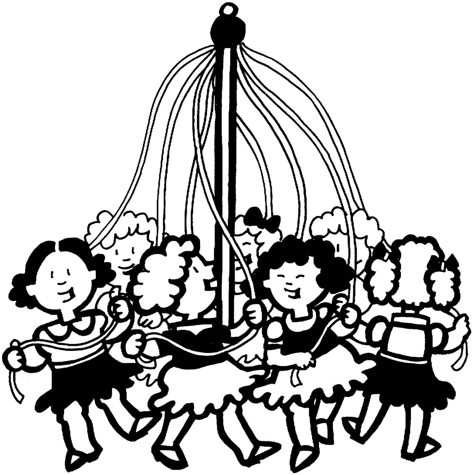 May Day Pole Coloring Page