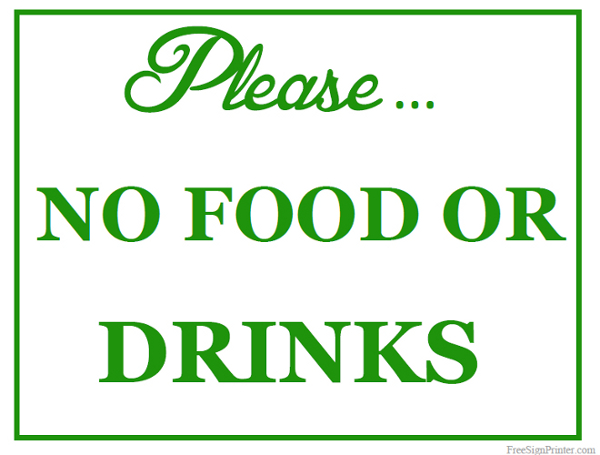 Nifty image with no food or drink signs printable