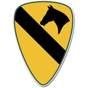 US Army 1st Cavalry Division Emblem Horse Symbol Yellow Vinyl ...