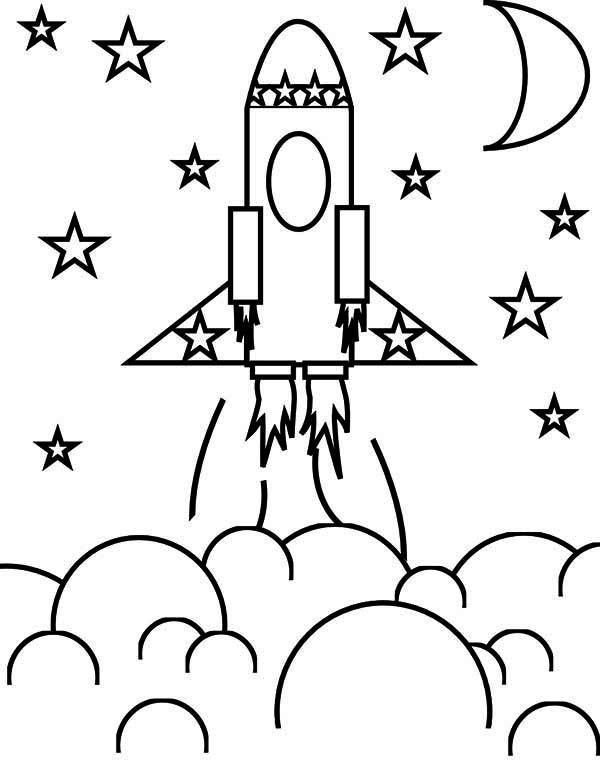 Rocket Ship Coloring Pages Transportation ColoringPedia