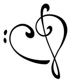 Bass treble clef heart tattoo