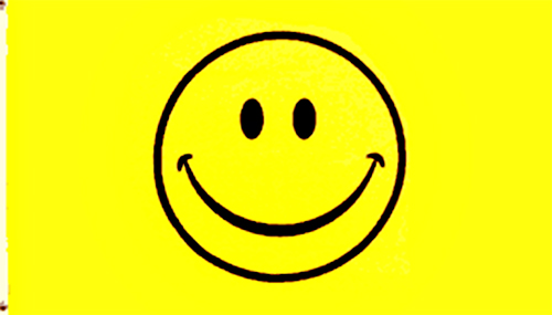 Happy Face Yellow Smiley Bright Vibrant Funny Large Sign 3x5 Poly ...