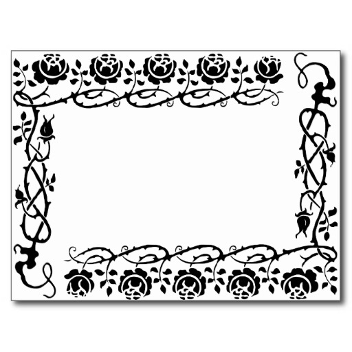 Black and White Vintage Floral Daisy Page Border Post Cards from ...