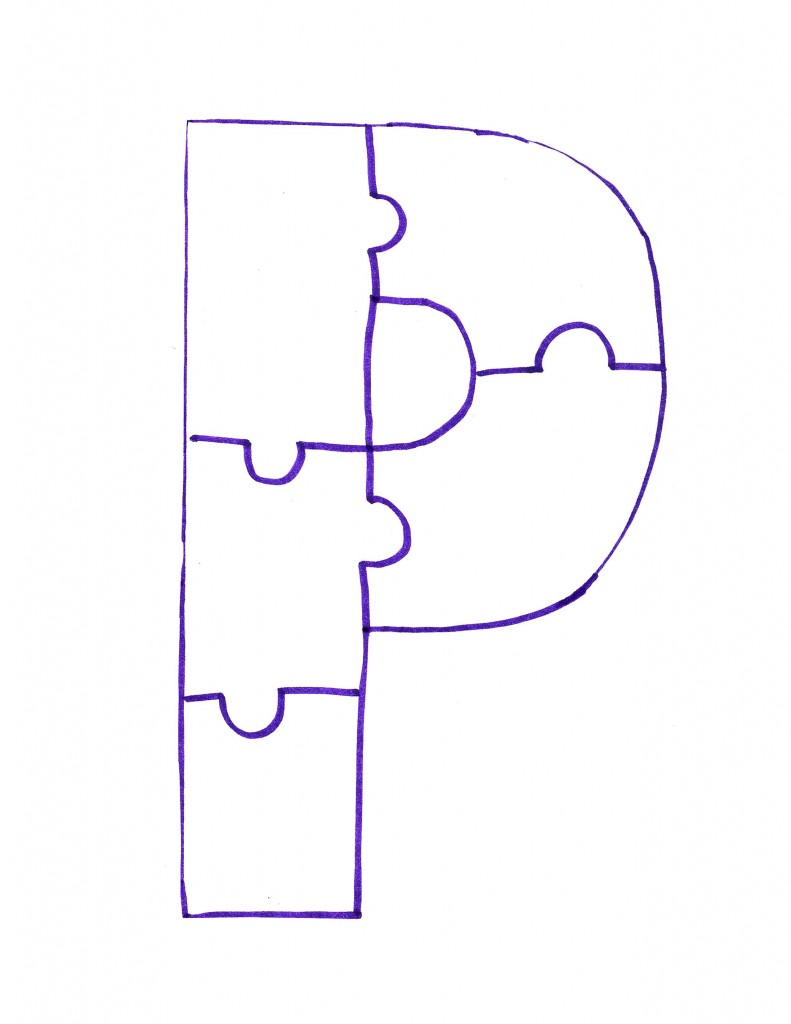 Puzzle Pieces Template Letter p is for painted puzzle