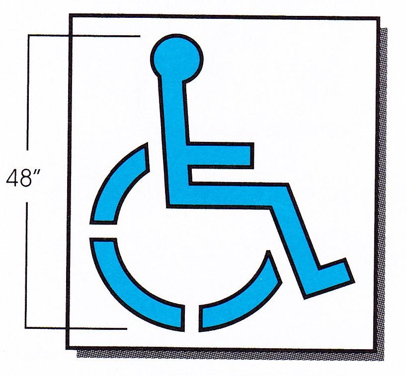 Handicap parking stencil 48 x 4125 inch clipart best clipart best for Handicap template