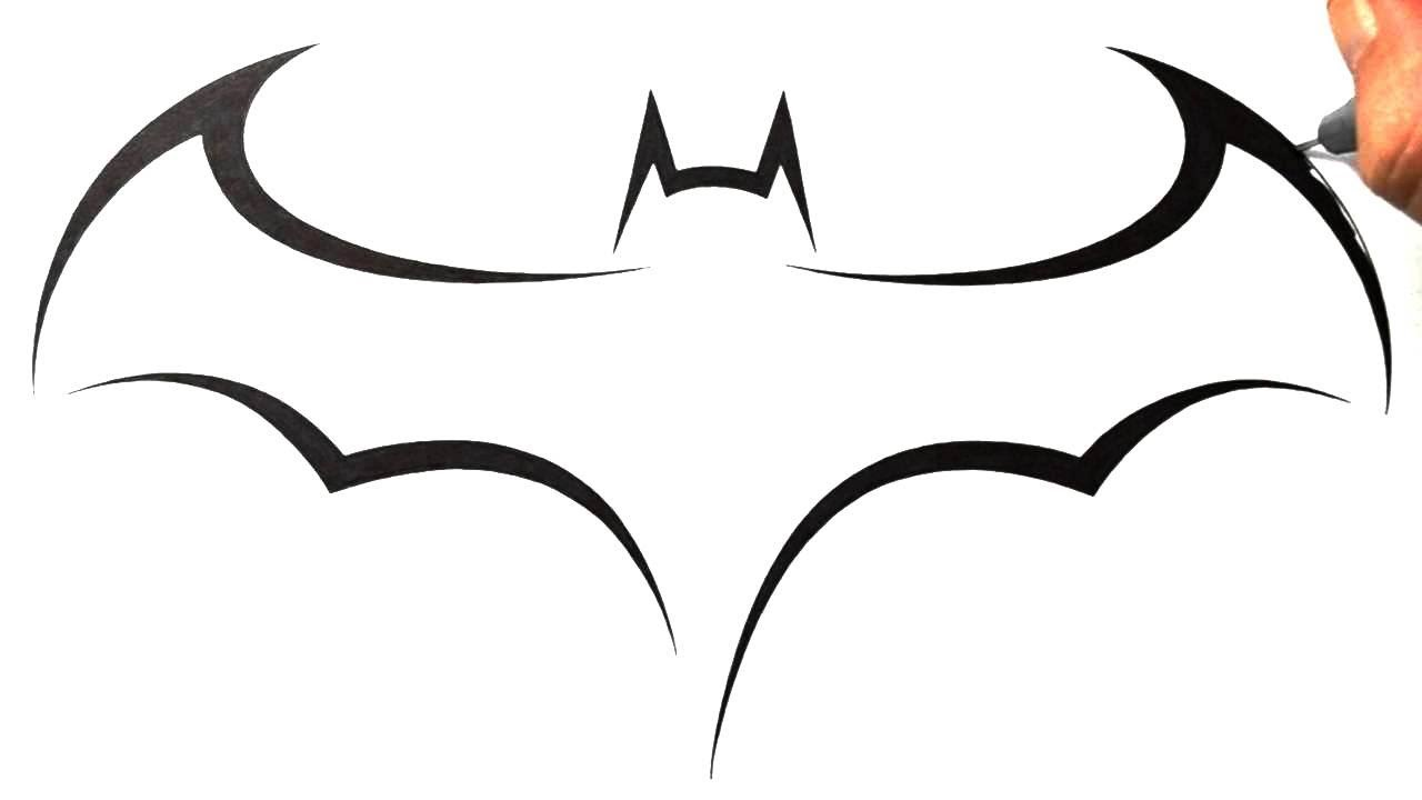 How to Draw Batman Logo - Tribal Tattoo Design Style - YouTube
