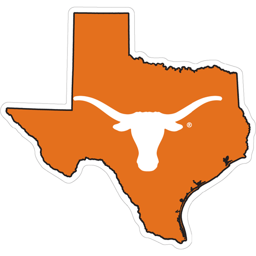 Texas Longhorns Decal Red State of Texas Outline with Longhorn ...