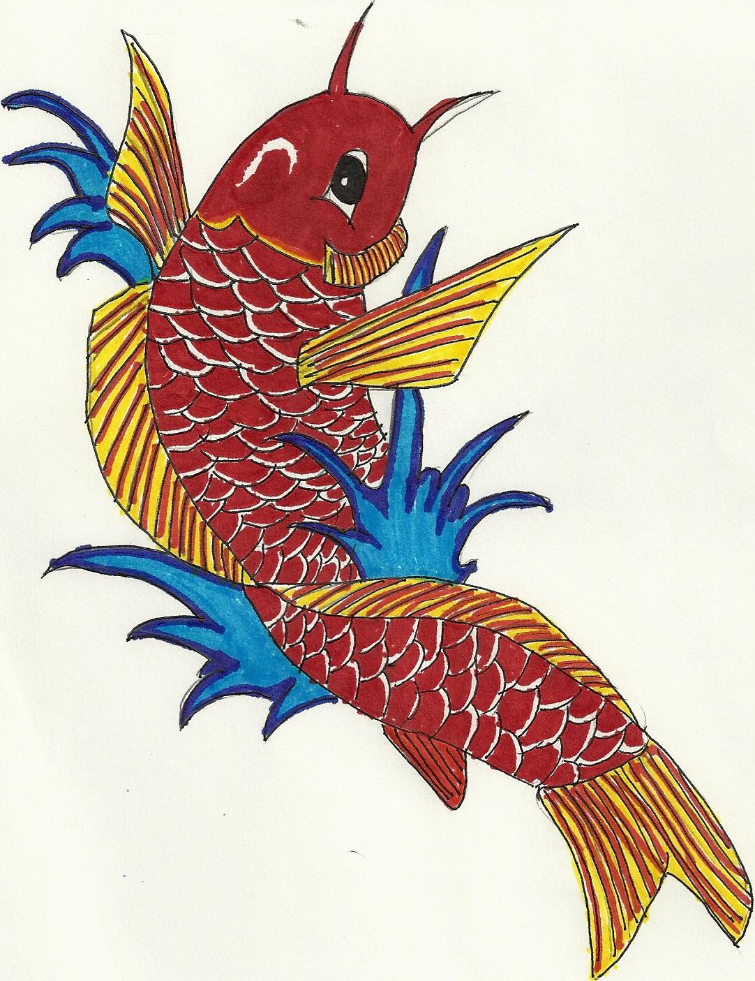 Koi fish sketch clipart best for Best koi fish