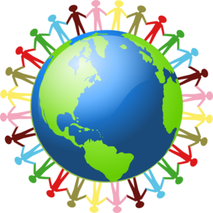 People all around the world holding hands clipart