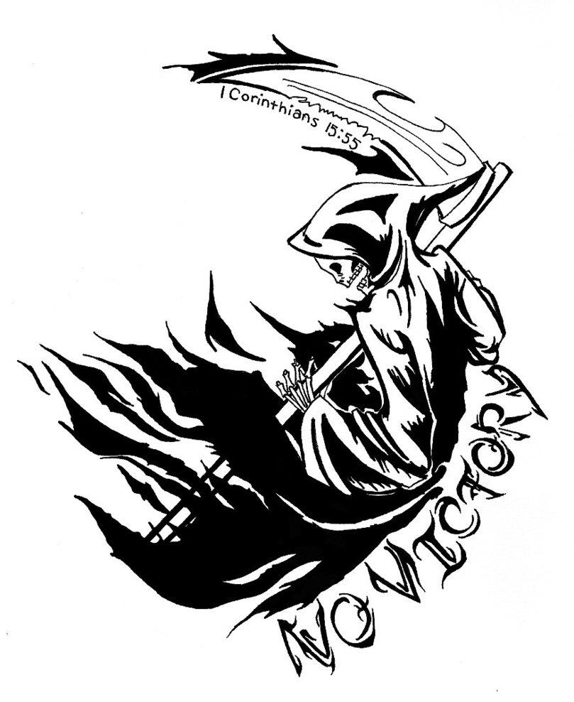 Tribal Death Tattoo: Tribal Grim Reaper Tattoo Designs