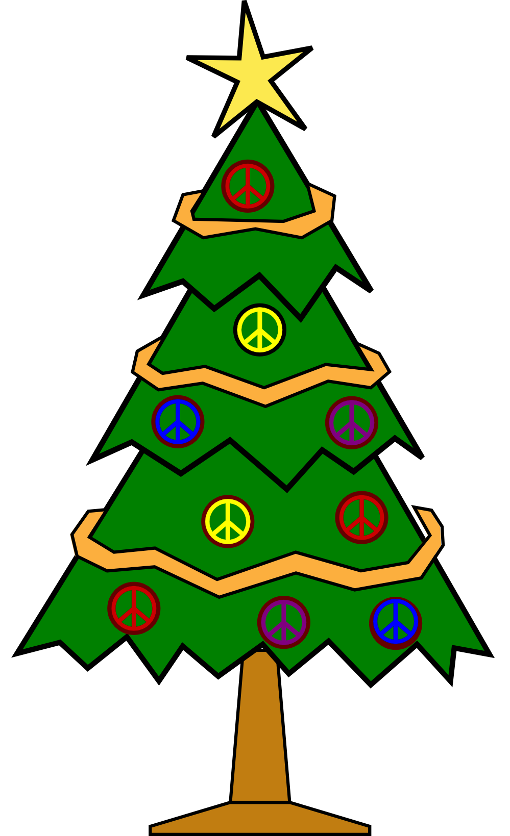 Christmas Tree Line Drawing - ClipArt Best