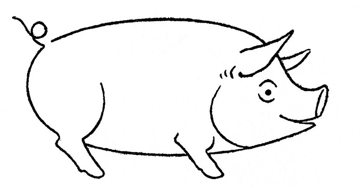 Line Drawing Pig : Pig line drawing clipart best