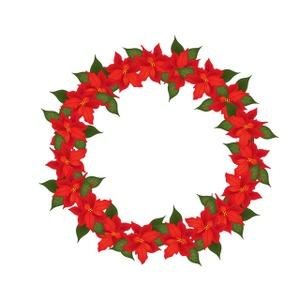 Christmas Wreath Clipart Image - Poinsettia Christmas Wreath - ClipArt ...